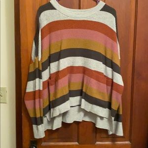 Striped pullover sweater with front pockets